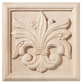 Häfele Chateau Collection Onlay, Hand Carved, Leaves Motif, 5-7/8'' W x 3/4'' D x 5-7/8'' H, Maple