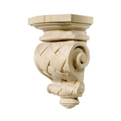 H�fele Cottage Collection Corbel, Hand Carved, Basket Weave, 5-7/8'' W x 4'' D x 9'' H, Maple