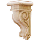 Scroll Collection Corbel, Rosette, Maple, 2-7/8''W x 3''D x 6''H