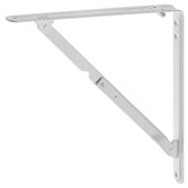 Steel Folding Bracket with Locking Device, White, (8-1/4''W x 7-7/8''H)