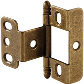 Full Wrap Non-Mortised Decorative Butt Cabinet Hinge with Ball Finial in Antique Brass, Overall Height: 63mm (2-1/2'')