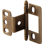 Partial Wrap Non-Mortised Decorative Butt Cabinet Hinge with Ball Finial in Antique Brass, Overall Height: 63mm (2-1/2'')