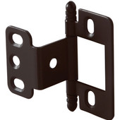 Partial Wrap Non-Mortised Decorative Butt Cabinet Hinge with Ball Finial in Dark Oil-Rubbed Bronze, Overall Height: 63mm (2-1/2'')