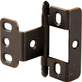 Full Wrap Non-Mortised Decorative Butt Cabinet Hinge with Ball Finial in Copper Bronze, Overall Height: 63mm (2-1/2'')