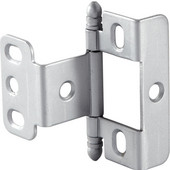 Full Wrap Non-Mortised Decorative Butt Cabinet Hinge with Ball Finial in Satin Chrome, Overall Height: 63mm (2-1/2'')