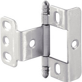 Full Wrap Non-Mortised Decorative Butt Cabinet Hinge with Ball Finial in Matt Nickel, Overall Height: 63mm (2-1/2'')