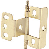 Full Wrap Non-Mortised Decorative Butt Cabinet Hinge with Minaret Finial in Brass Plated, Overall Height: 71mm (2-13/16'')