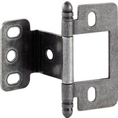 Partial Wrap Non-Mortised Decorative Butt Cabinet Hinge with Ball Finial in Pewter, Overall Height: 63mm (2-1/2'')