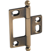 Elite Decorative Non-Mortised Butt Cabinet Hinge with Ball Finial in Antique Brass, Overall Height: 65mm (2-9/16'')