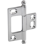 Elite Decorative Non-Mortised Butt Cabinet Hinge with Ball Finial in Polished Chrome, Overall Height: 65mm (2-9/16'')