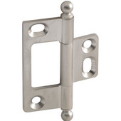 Elite Decorative Non-Mortised Butt Cabinet Hinge with Ball Finial in Brushed Nickel, Overall Height: 65mm (2-9/16'')
