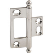 Elite Decorative Non-Mortised Butt Cabinet Hinge with Ball Finial in Polished Nickel, Overall Height: 65mm (2-9/16'')