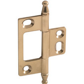 Elite Decorative Non-Mortised Butt Cabinet Hinge with Minaret Finial in Polished Brass, Overall Height: 75mm (2-15/16'')