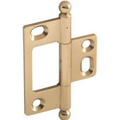 Elite Decorative Non-Mortised Butt Cabinet Hinge with Ball Finial in Polished Brass, Overall Height: 65mm (2-9/16'')