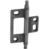 Elite Decorative Non-Mortised Butt Cabinet Hinge with Minaret Finial in Pewter, Overall Height: 75mm (2-15/16'')