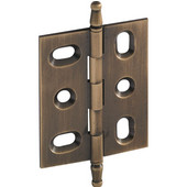 Elite Decorative Mortised Butt Cabinet Hinge with Minaret Finial in Antique Brass, Overall Height: 70mm (2-3/4'')