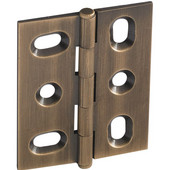 Elite Decorative Mortised Butt Cabinet Hinge with Button Cap Finial in Antique Brass, Overall Height: 53mm (2-1/8'')
