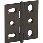 Elite Decorative Mortised Butt Cabinet Hinge with Button Cap Finial in Oil-Rubbed Bronze, Overall Height: 53mm (2-1/8'')
