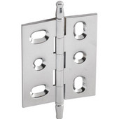Elite Decorative Mortised Butt Cabinet Hinge with Minaret Finial in Polished Chrome, Overall Height: 70mm (2-3/4'')