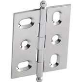 Elite Decorative Mortised Butt Cabinet Hinge with Ball Finial in Polished Chrome, Overall Height: 62mm (2-7/16'')