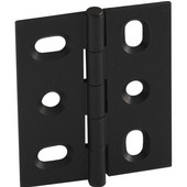 Elite Decorative Mortised Butt Cabinet Hinge with Button Cap Finial in Black, Overall Height: 53mm (2-1/8'')