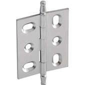 Elite Decorative Mortised Butt Cabinet Hinge with Minaret Finial in Satin Chrome, Overall Height: 70mm (2-3/4'')