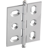 Elite Decorative Mortised Butt Cabinet Hinge with Ball Finial in Satin Chrome, Overall Height: 62mm (2-7/16'')