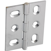 Elite Decorative Mortised Butt Cabinet Hinge with Button Cap Finial in Satin Chrome, Overall Height: 53mm (2-1/8'')