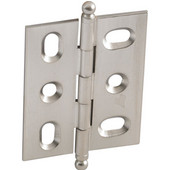Elite Decorative Mortised Butt Cabinet Hinge with Ball Finial in Brushed Nickel, Overall Height: 62mm (2-7/16'')