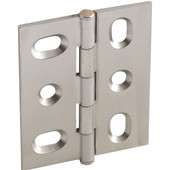 Elite Decorative Mortised Butt Cabinet Hinge with Button Cap Finial in Brushed Nickel, Overall Height: 53mm (2-1/8'')