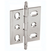 Elite Decorative Mortised Butt Cabinet Hinge with Minaret Finial in Polished Nickel, Overall Height: 70mm (2-3/4'')
