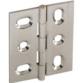Elite Decorative Mortised Butt Cabinet Hinge with Button Cap Finial in Polished Nickel, Overall Height: 53mm (2-1/8'')