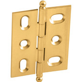 Elite Decorative Mortised Butt Cabinet Hinge with Ball Finial in Polished Brass, Overall Height: 62mm (2-7/16'')