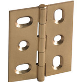 Elite Decorative Mortised Butt Cabinet Hinge with Button Cap Finial in Polished Brass, Overall Height: 53mm (2-1/8'')
