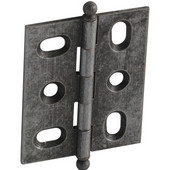 Elite Decorative Mortised Butt Cabinet Hinge with Ball Finial in Pewter, Overall Height: 62mm (2-7/16'')