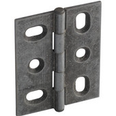 Elite Decorative Mortised Butt Cabinet Hinge with Button Cap Finial in Pewter, Overall Height: 53mm (2-1/8'')