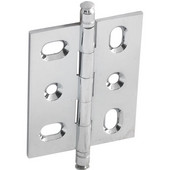 Mortised Decorative Butt Cabinet Hinge with Minaret Finial in Polished Chrome, Overall Height: 70mm (2-3/4'')
