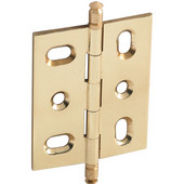 Mortised Decorative Butt Cabinet Hinge with Minaret Finial in Polished Brass, Overall Height: 70mm (2-3/4'')