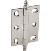 Elite Decorative Large Mortised Butt Cabinet Hinge with Minaret Finial in Polished Nickel, Overall Height: 90mm (3-1/2'')