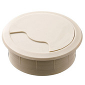 Round Cable Grommet Set, for Office Organization, 2-piece, Almond, 2-3/8'' Hole