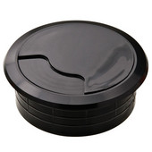 Round Cable Grommet Set, for Office Organization, 2-piece, Black, 2-3/8'' Hole