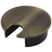 Metal Round Cable Grommet, Zinc, Brushed Bronze, 1-9/16'' Hole, 13/16'' x 1'' Opening