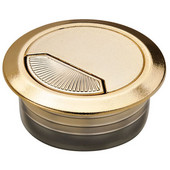 Round Cable Grommet Set with Spring Closure, for Office Organization, 2-piece, Brass Matt, 2'' Hole