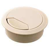 Round Cable Grommet Set with Spring Closure, for Office Organization, 2-piece, Almond, 2-3/8'' Hole