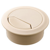 Round Cable Grommet Set with Spring Closure, for Office Organization, 2-piece, Almond, 2'' Hole
