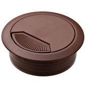 Round Cable Grommet Set with Spring Closure, for Office Organization, 2-piece, Brown, 2-3/8'' Hole