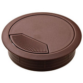 Round Cable Grommet Set with Spring Closure, for Office Organization, 2-piece, Brown, 3-1/8'' Hole