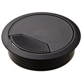 Round Cable Grommet Set with Spring Closure, for Office Organization, 2-piece, Black, 3-1/8'' Hole