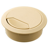 Round Cable Grommet Set with Spring Closure, for Office Organization, 2-piece, Beige, 2-3/8'' Hole
