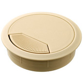 Round Cable Grommet Set with Spring Closure, for Office Organization, 2-piece, Beige, 3-1/8'' Hole